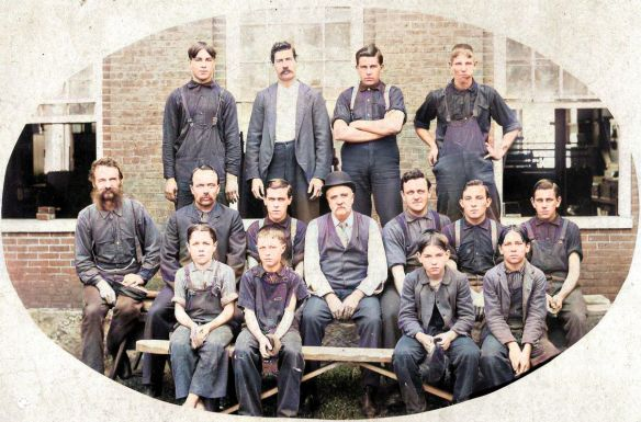Gonic Woolen Mill Workers - Colorized version