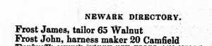Title: Newark, New Jersey, City Directory, 1861. Ancestry.com. U.S. City Directories, 1821-1989 [database on-line]. Provo, UT, USA: Ancestry.com Operations, Inc., 2011.
