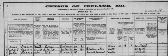 1911 Ireland Census Mann