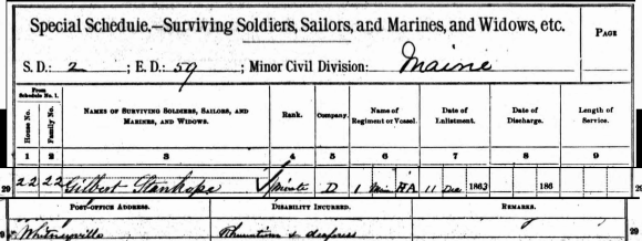 Year: 1890; Census Place: Jonesboro, Whitneyville and Marshfield, Washington, Maine; Roll: 7; Page: 3; Enumeration District: 59. Ancestry.com. 1890 Veterans Schedules [database on-line]. Provo, UT, USA: Ancestry.com Operations Inc, 2005.