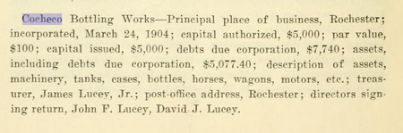 Listing in Vol 1 of the State of NH Annual Reports 1912-1913