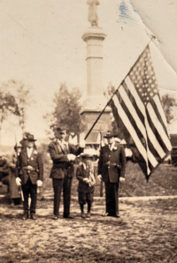 1928 Rochester Commons, Rochester NH G.A.R. Ceremony. James Lucey on the far right